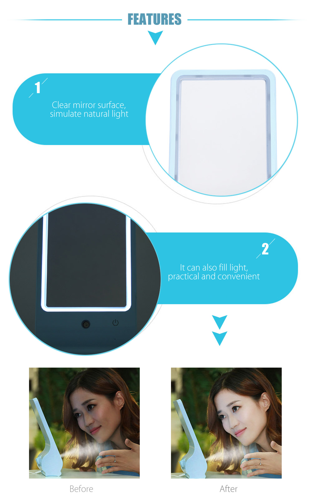 Multifunctional Makeup Mirror Cool Mist Humidifier for Home Office