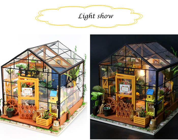 Wooden Flower Room Kit with LED Light Furniture DIY Handcraft Toy