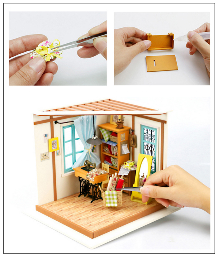 Wooden Tailor Kit with LED Light Furniture DIY Handcraft Toy
