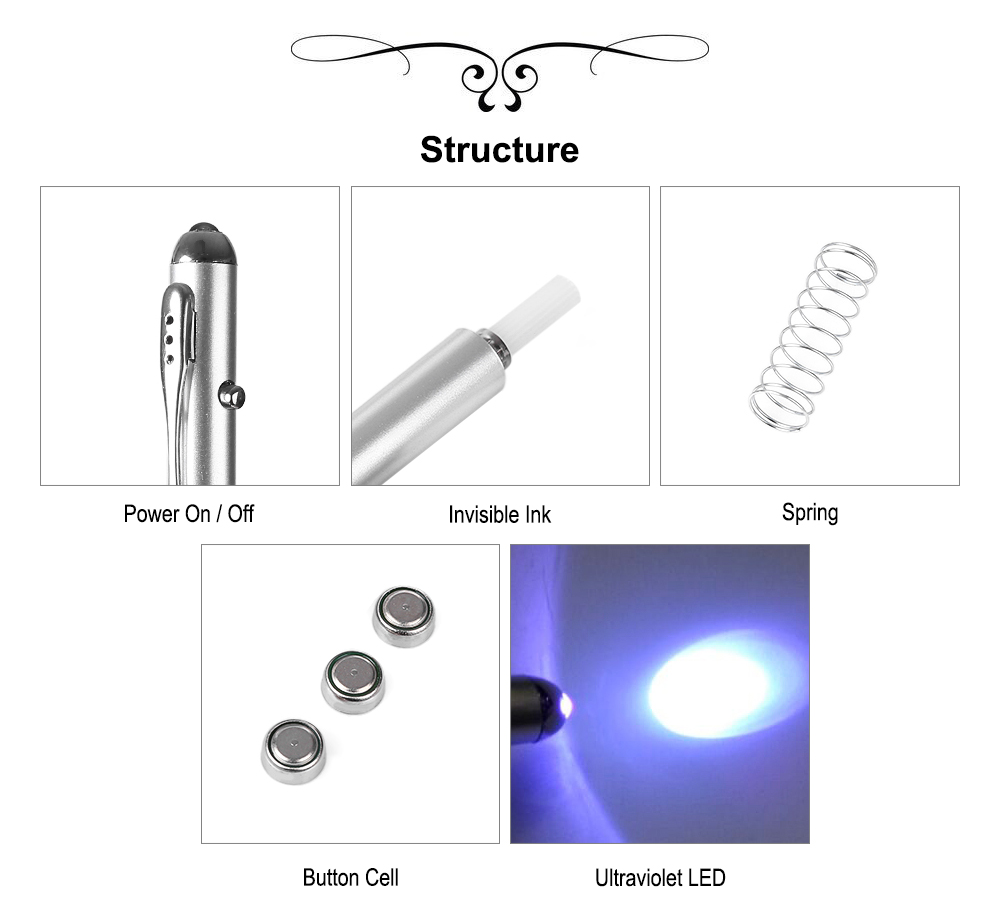 Multifunctional Magical Pen with Invisible Ink Ultraviolet LED for Love Letter / Tattoo / Clue Setting / Anti-counterfeiting