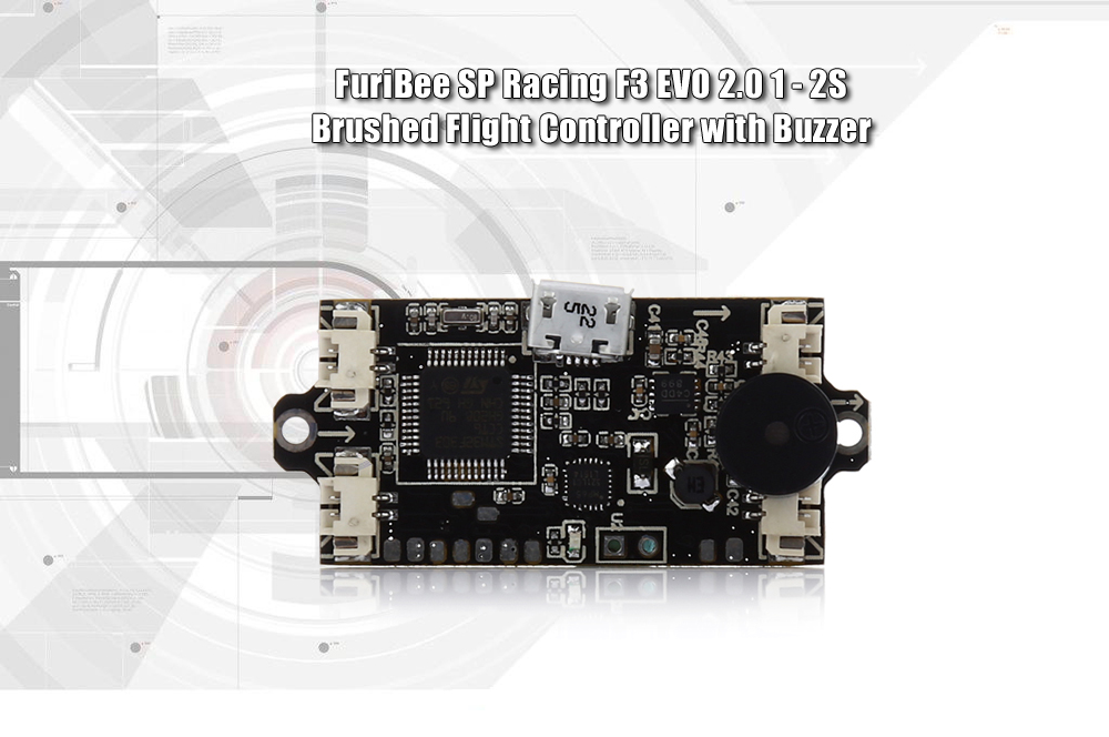 FuriBee SP Racing F3 EVO 2.0 1 - 2S Brushed Flight Controller with Buzzer for F90 Wasp / Other Racing Multicopters