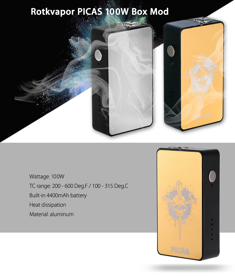Original Rotkvapor PICAS 100W Box Mod with Built-in 4400mAh Battery / 200 - 600F / 100 - 315C for E Cigarette