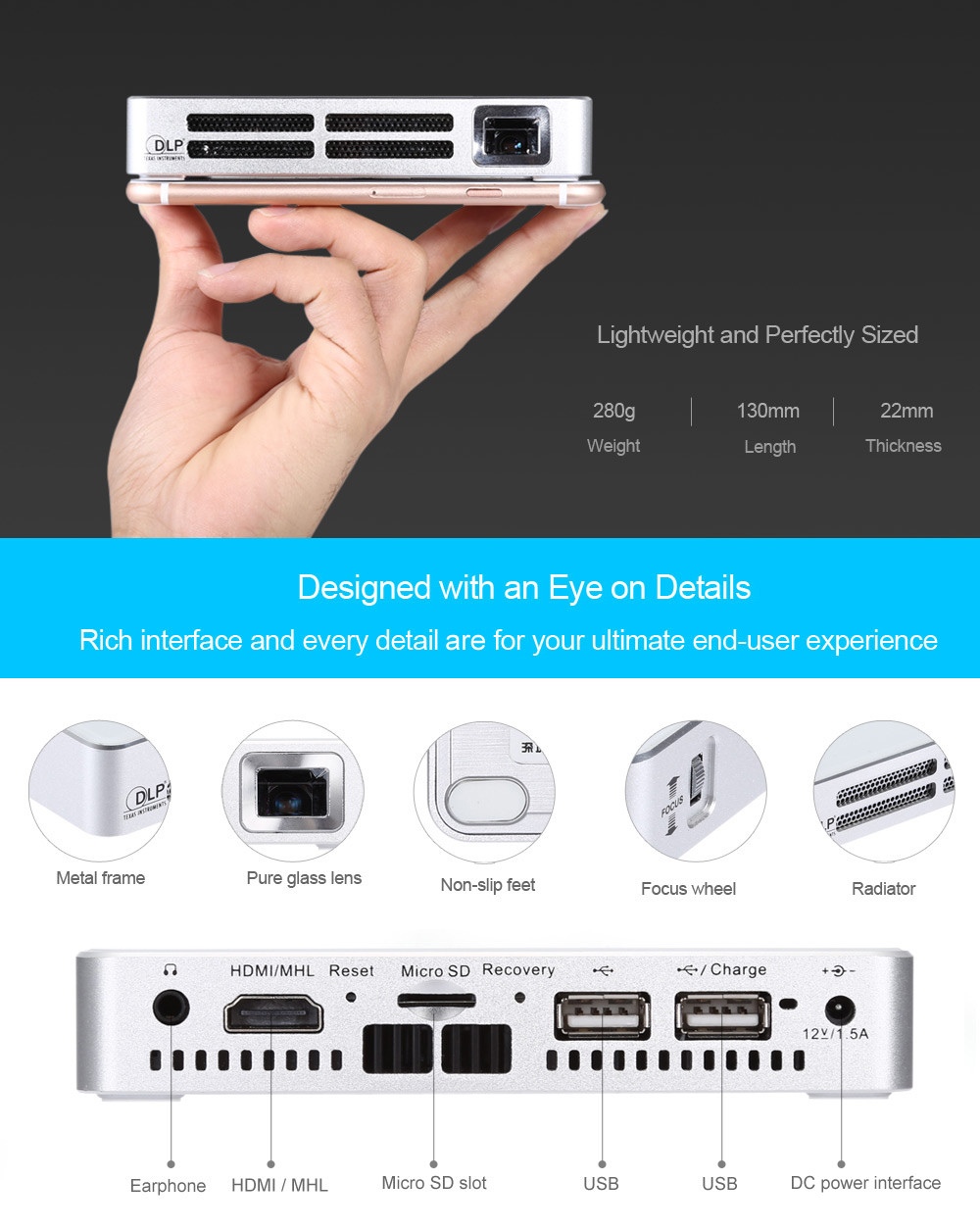 wowoto A5 75 Lumens 850 x 480 Pixels Mini DLP Projector Support HDMI AV USB Micro SD Card Slot for Home Theater Business