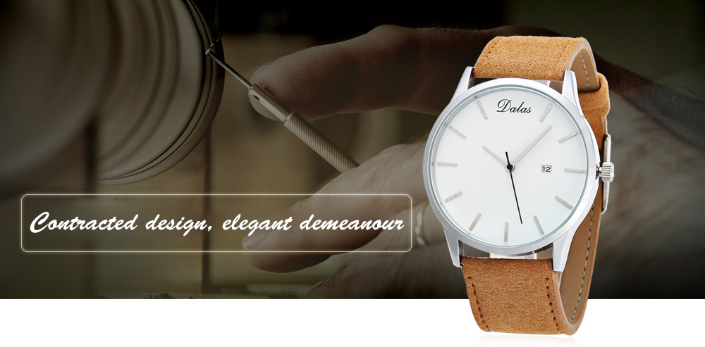 Dalas 9669 Casual Male Quartz Watch Contracted Nail Scale Wristwatch