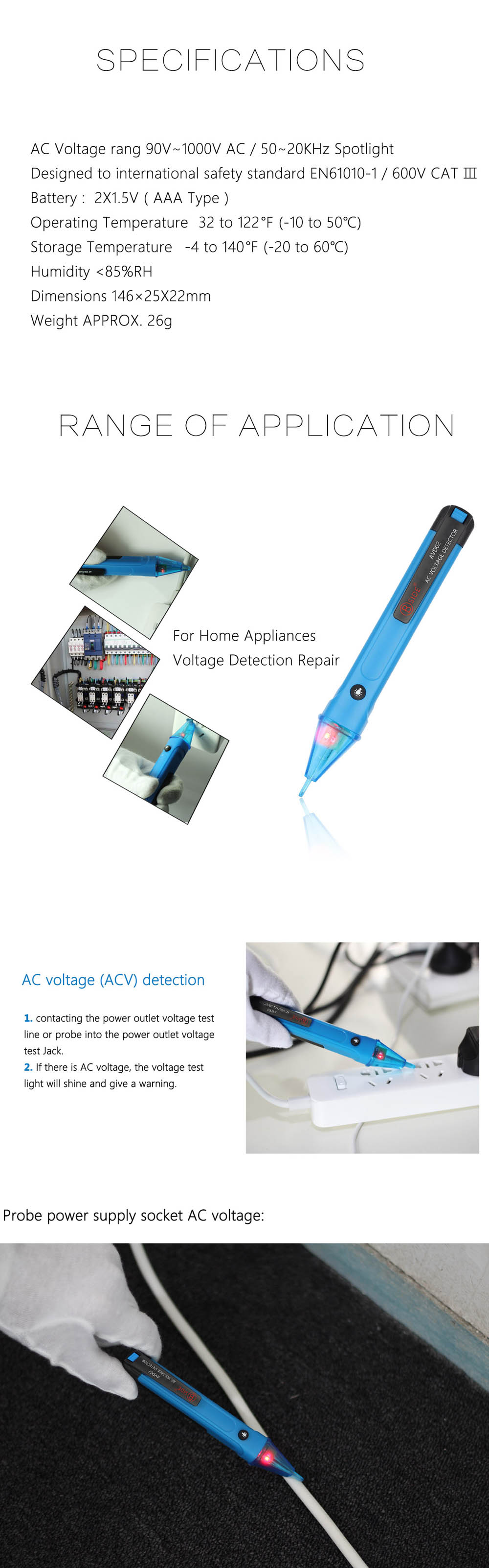 BSIDE AVD02 Non-contact Voltage Detector with LED Light for Workplace / Home / Shop