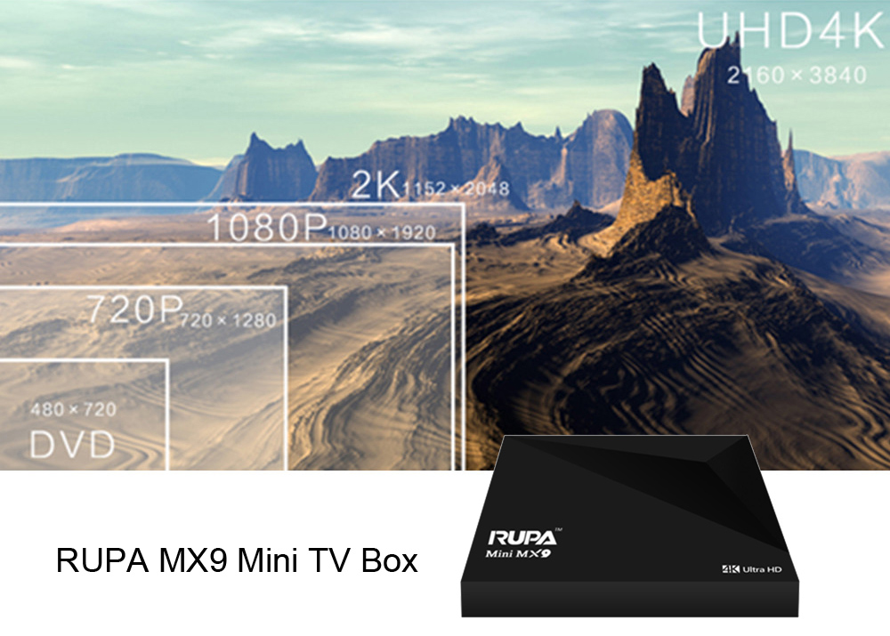 RUPA MX9 Mini TV Box Supporting Quad-core RK3229 CPU Android 5.1 DLNA File Sharing