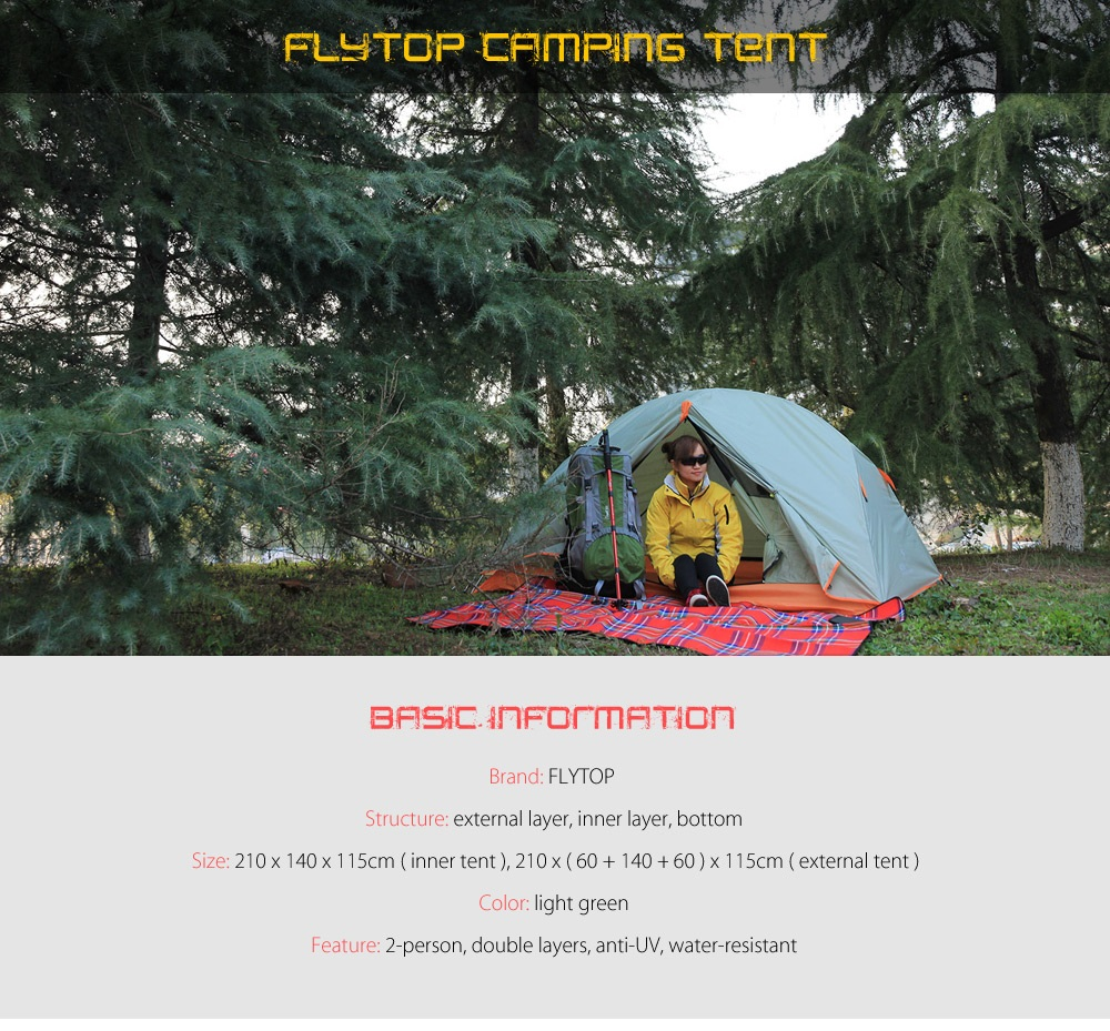 FLYTOP Water-resistant Polyester 2-person Camping Tent with Thickened PU-coated Layer