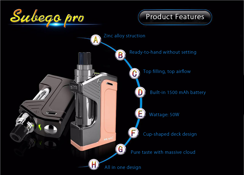 Original Rotkvape Subego Pro Kit with 50W / Built-in 1500mAh Battery / 0.1 ohm / Top Filling for E Cigarette