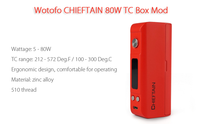 Original Wotofo CHIEFTAIN 80W TC Box Mod with Five Modes / 201 - 572F / 100 - 300C / Supporting SS316 / NI / TI / TCR for E Cigarette