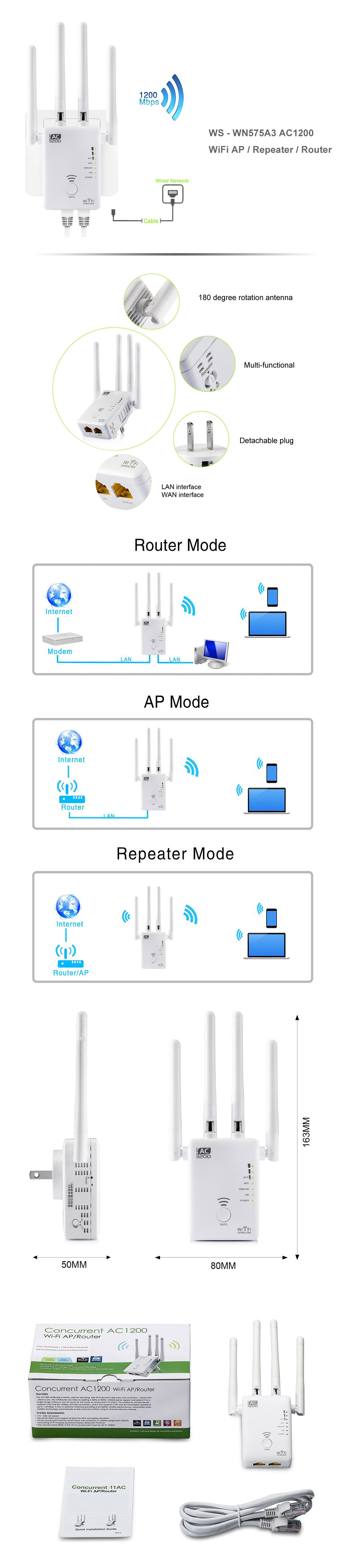 WS - WN575A3 AC1200 WiFi AP / Repeater / Router Wireless Network Device