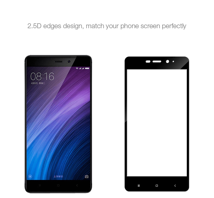 Luanke Tempered Glass Full Cover Screen Protective Film for Xiaomi Redmi 4 High Version 0.3mm 2.5D 9H Explosion-proof Protector