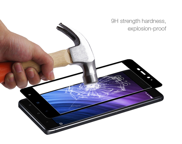 Luanke Tempered Glass Full Cover Screen Protective Film for Xiaomi Redmi 4 High Version 0.26mm 2.5D 9H Explosion-proof Protector
