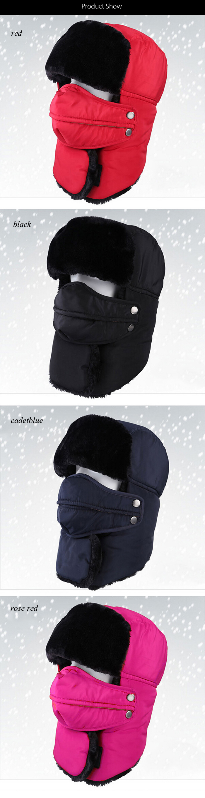 Winter Warm Leifeng Hat with Face Mask Neck Warmer Earmuffs