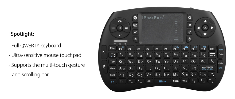 iPazzPort KP - 810 - 21S Hebrew Language Mini Wireless Keyboard for PC Pad / Android TV Box