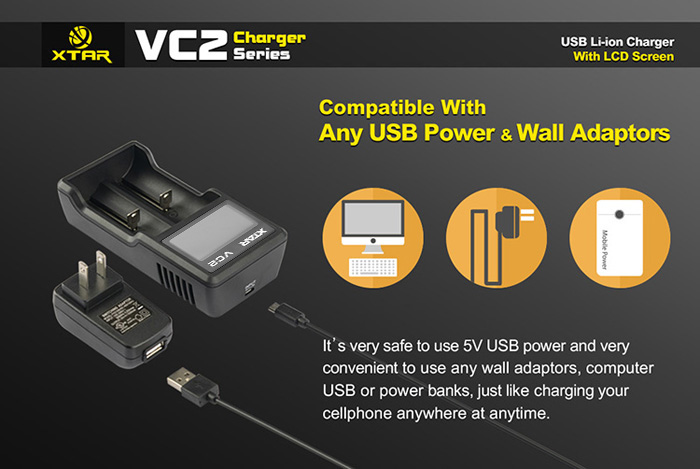 New Arrival XTAR VC2 2 Slots USB Li-ion Battery Charger with LCD