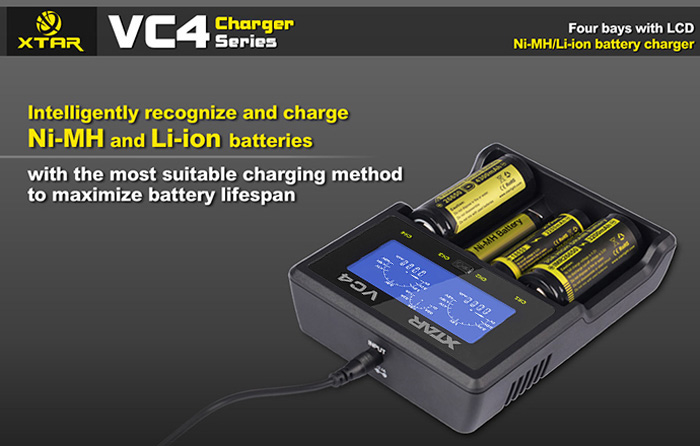 XTAR VC4 Humanized LCD Charger Ni-Mh Li-ion Battery Charger with 4 Channels, Identification