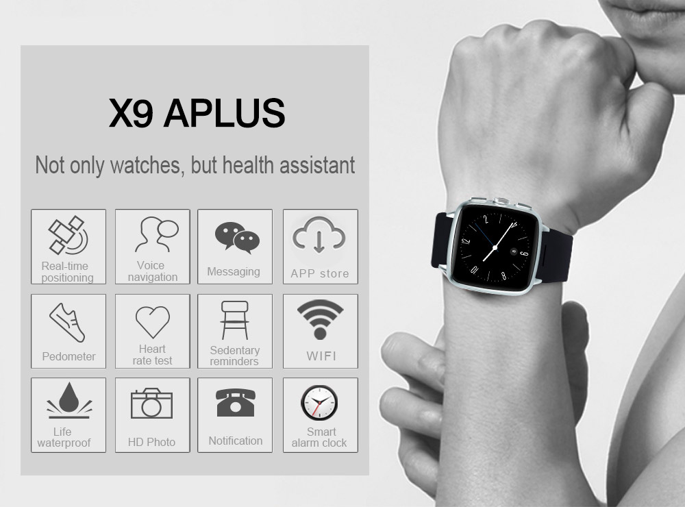 TenFifteen X9A Plus 1.54 inch Android 5.1 3G Smartwatch Phone MTK6572 Dual Core 1.3GHz 4GB ROM Pedometer Sedentary Reminder Heart Rate Measurement