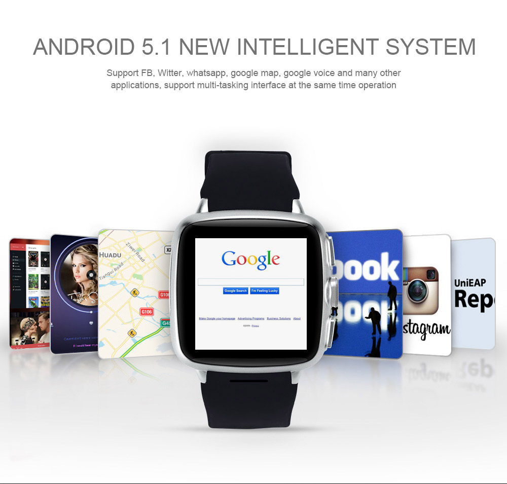 TenFifteen X9A Plus 1.54 inch Android 5.1 3G Smartwatch Phone MTK6572 Dual Core 1.3GHz 4GB ROM Heart Rate Measurement