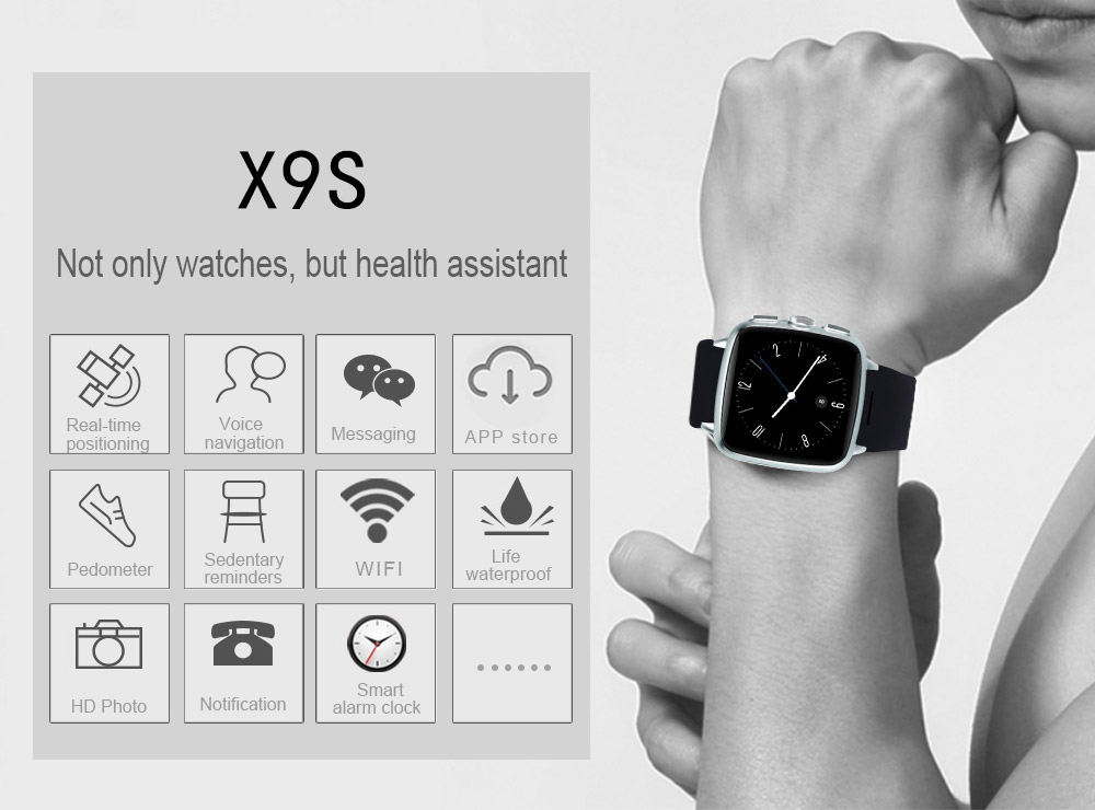 TenFifteen X9S 1.54 inch Android 5.1 3G Smartwatch Phone MTK6572 Dual Core 1.3GHz 4GB ROM Pedometer Bluetooth 4.0 Recording
