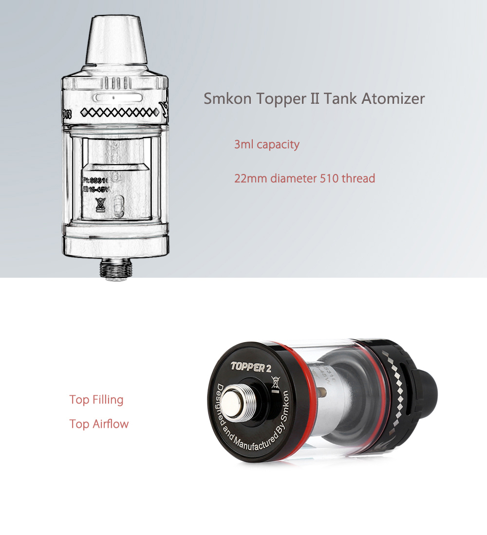 Original Smkon Topper II Tank Atomizer Supporting CF1 / CF2 Coil with 0.5 ohm / 3ml Capacity / Top Filling for E Cigarette