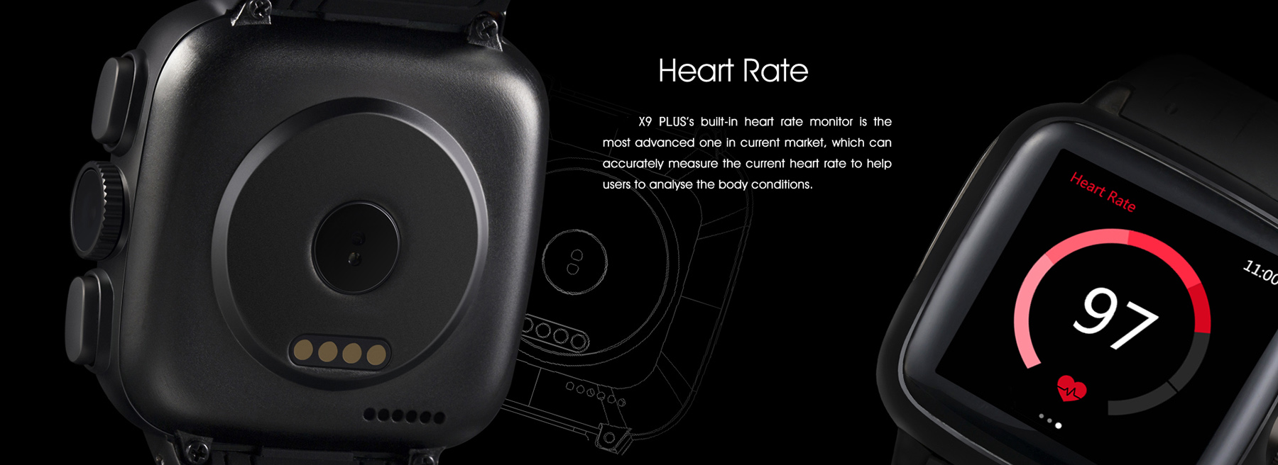TenFifteen X9 PLUS Android 4.4 1.54 inch 3G Smartwatch Phone MTK6572 Dual Core 1.3GHz 4GB ROM Camera Heart Rate Measurement Bluetooth Pedometer