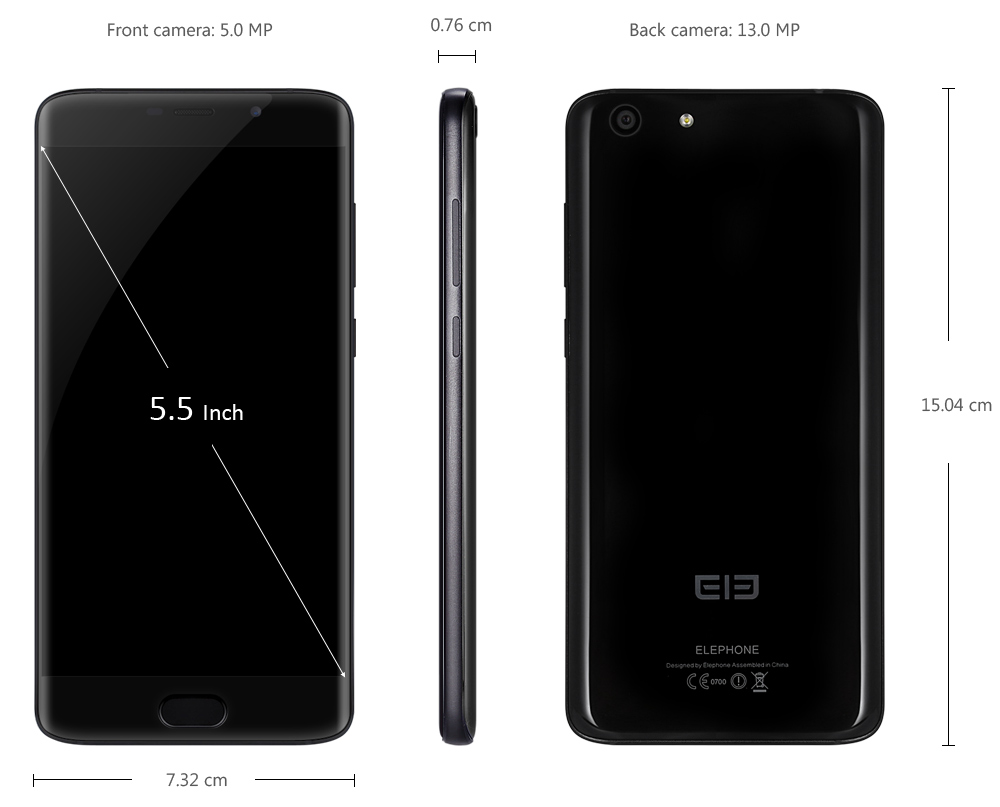 Elephone S7 5.5 inch FHD Screen 4G Phablet Android 6.0 Helio X25 Deca Core 2.0GHz 4GB RAM 64GB ROM 13.0MP + 5.0MP Cameras Fingerprint Sensor