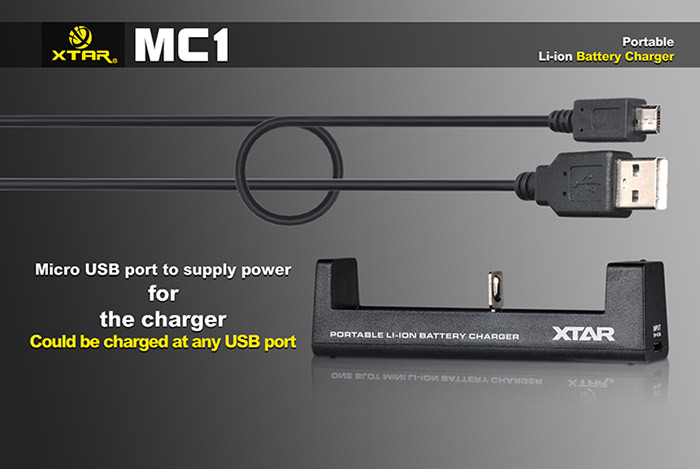 Xtar MC1 Li-ion Professional Intelligent 3 Stage 1-Slot Battery Charger with USB Port