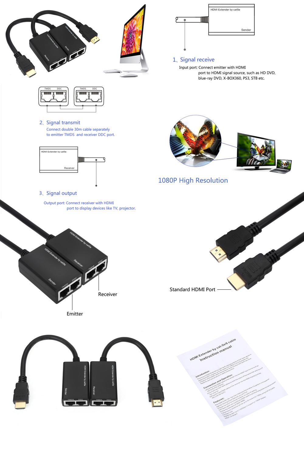 HDMI Extender Sender / Receiver Cable Set for Signal Amplify