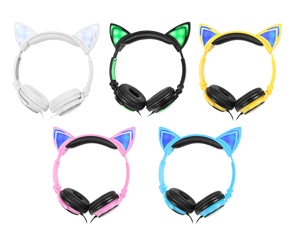 LX - 107 Wired Portable LED Light Cat Ear Design Cute Headphones