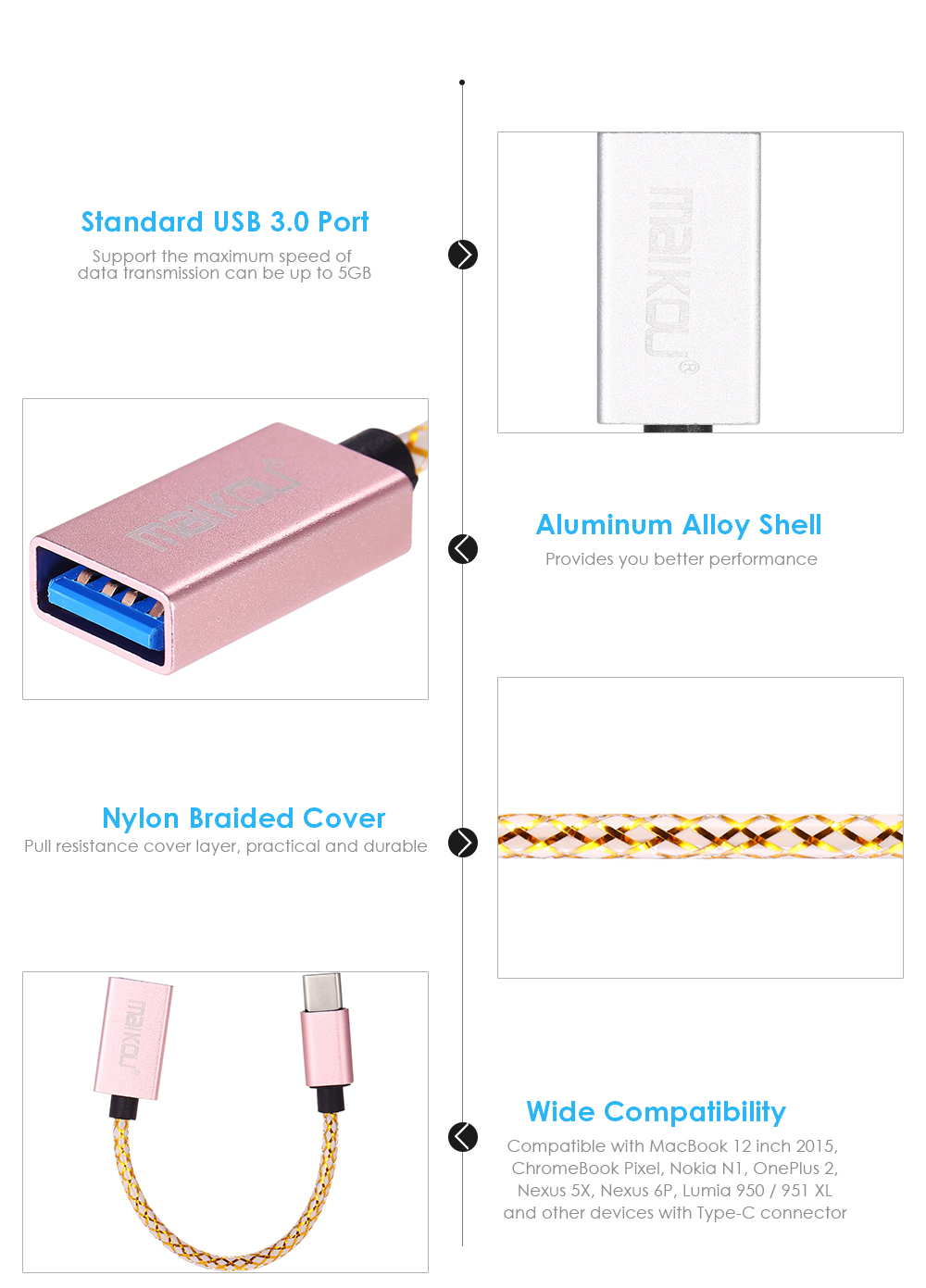 Maikou Type-C Male to USB 3.0 Adapter Cable Reversible Connector Convertor Data Sync Charging Cord