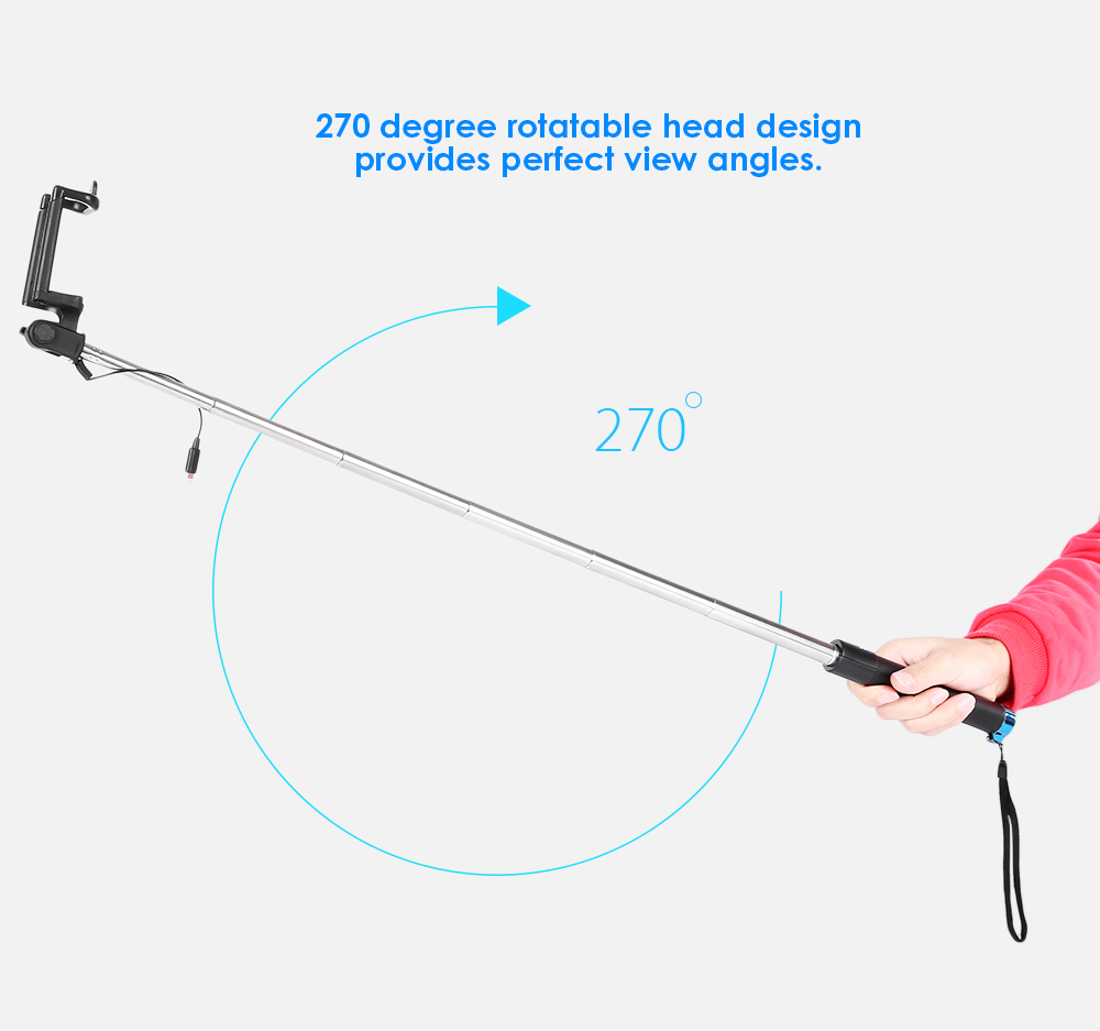 8 Pin Jack Wire Control Selfie Stick Monopod Camera Shutter 270 Degree Rotation for iPhone 7 / 7 Plus