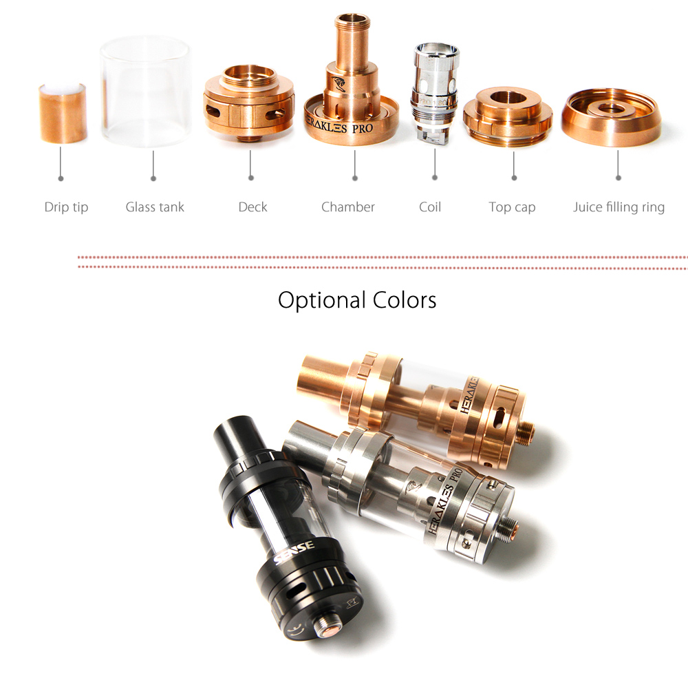 Original Sense Herakles Pro Sub-ohm Clearomizer with 1.8 ohm / 0.4 ohm / 4.5ml Capacity / Top Filling / Adjustable Liquid Control System for E Cigarette