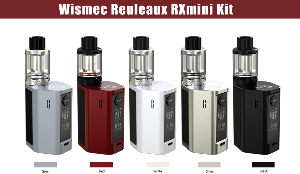 Original Wismec Reuleaux RXmini Kit with 1 - 80W / VW / BYPASS / TC - Ni / TC - Ti / TC - SS / TCR Modes / 100 - 315C / 200 - 600F / 0.2 ohm Clearomizer for E Cigarette