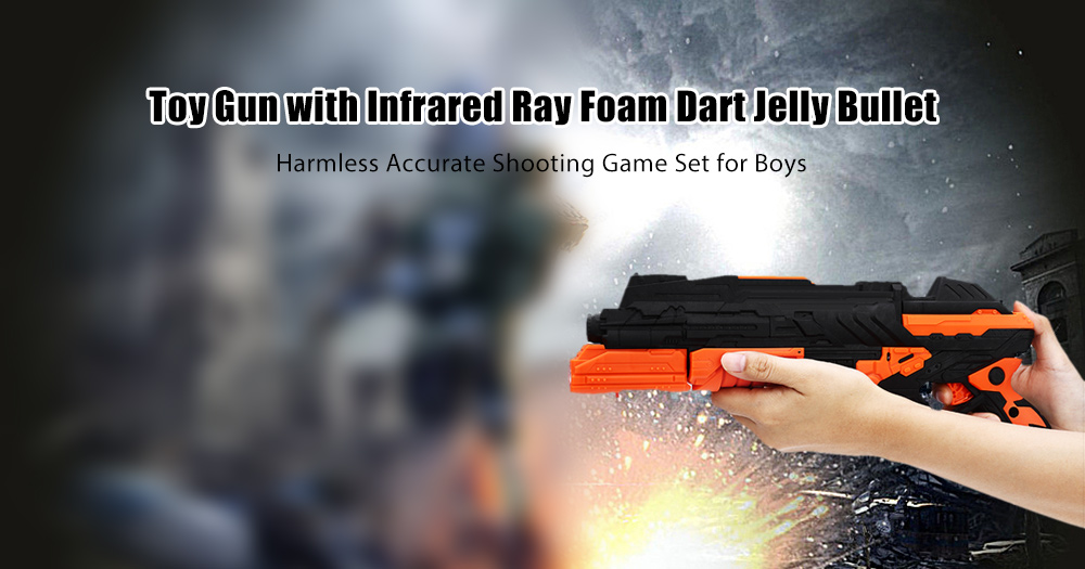 Toy Gun with Infrared Ray Foam Dart Jelly Bullet Safe Accurate Shooting Game Set for Boys
