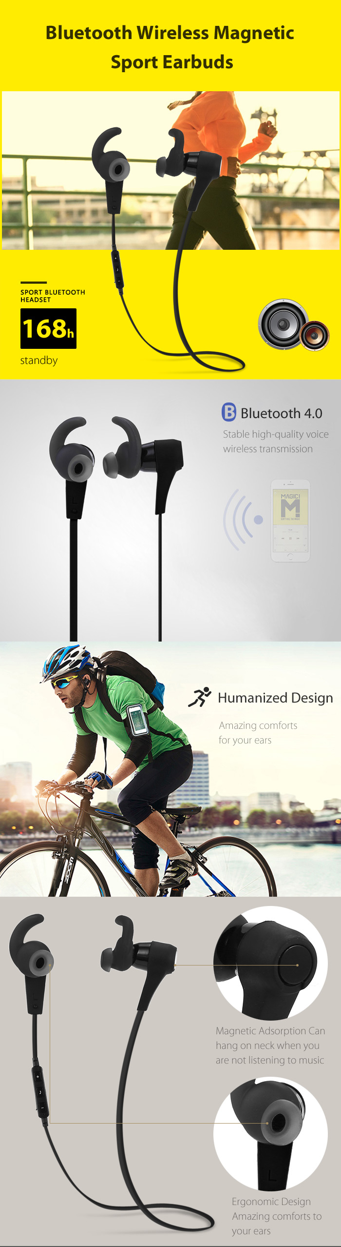 Wireless Bluetooth Magnetic Earbuds for Sports with Phones Answer Function