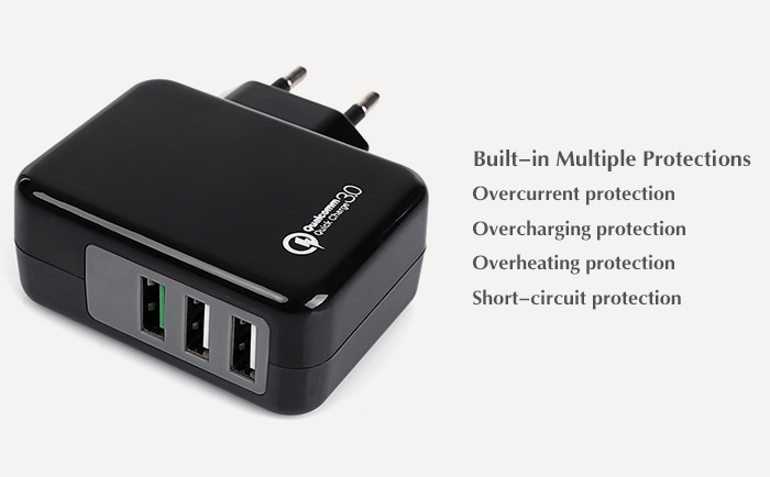 EU Standard Qualcomm Certified Quick Charge 3.0 Power Adapter Wall Charger Triple USB Ports