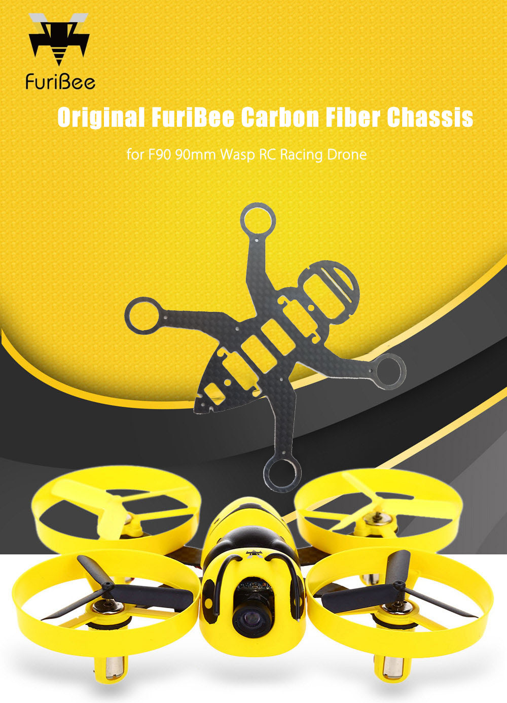 Original FuriBee Carbon Fiber Chassis for F90 90mm Wasp RC Racing Drone