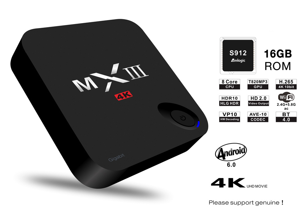 MXIII - G II Box Amlogic S912 Octa Core Android 6.0 with KODI 16.1 BT 4.0 2.4G + 5.8G Dual-band WiFi