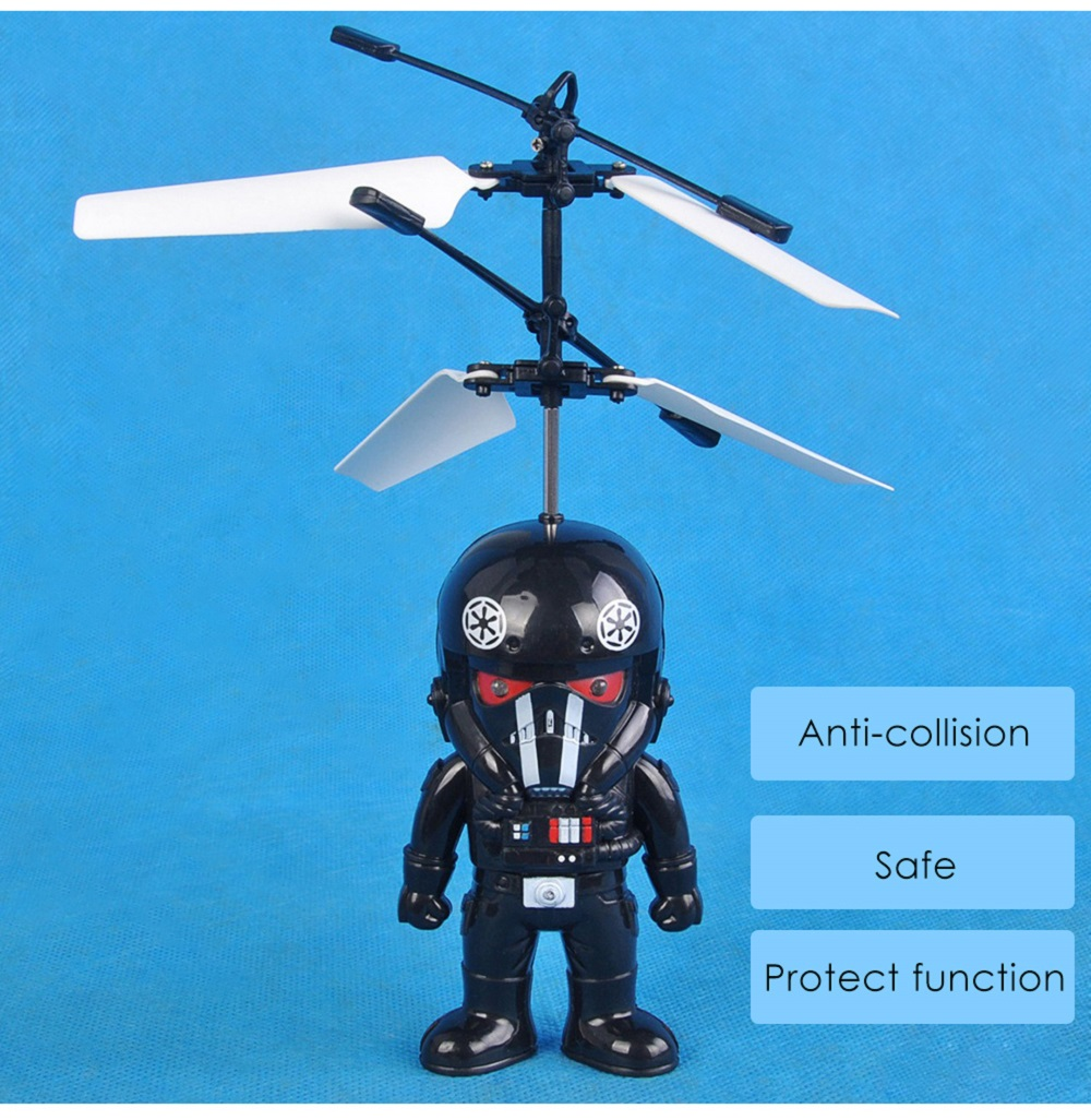 Cartoon Hero Shape Infrared Control Helicopter Robotic Toy with Colorful Light