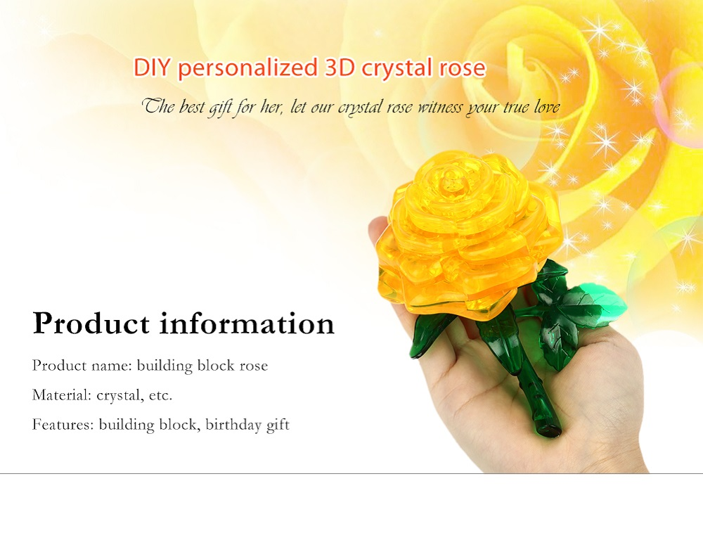 Rose Style Crystal 3D Puzzle Building Block for Lover