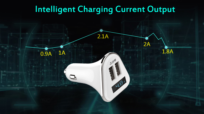 Teclast CCP206 DC 12 - 24V Dual USB Charging Port Car Charger 5V 4.8A Real-time Voltage / Current Display