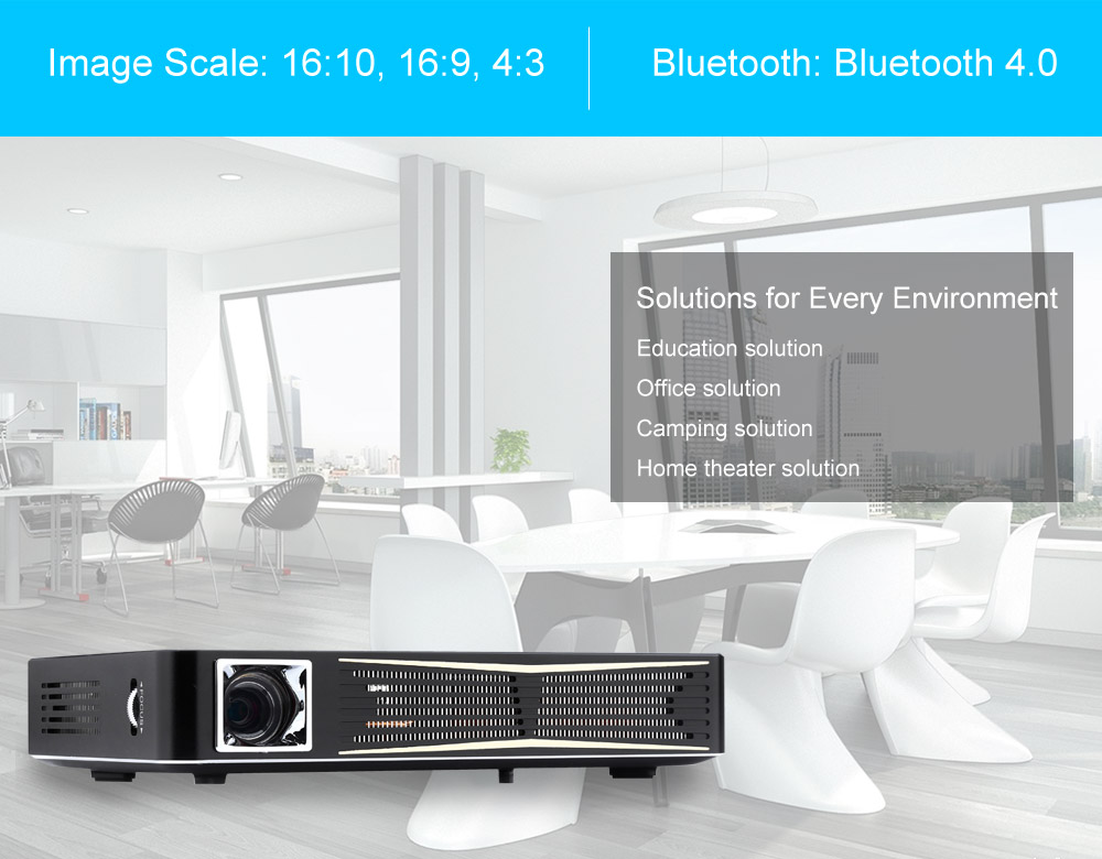 TOUMEI V3 3D Projector 2000 Lumens 1280 x 800 Pixels with Quad-core ARM Cortex-A7 CPU  Home Theater