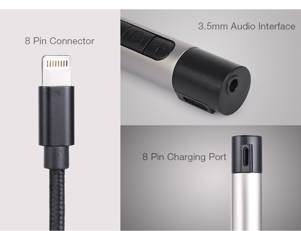 8 Pin Interface Earphone Headset Audio Adapter Cable Support Charging Volume Control for iPhone 7 / 7 Plus