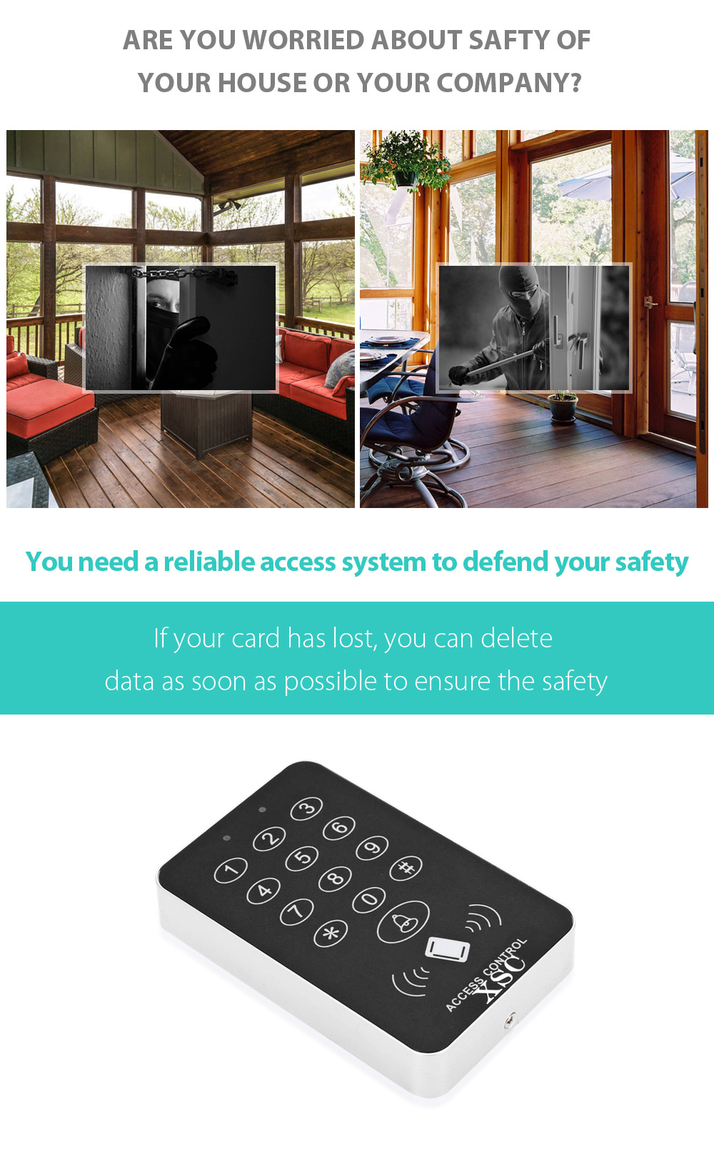 XSC 500 Users Access System Support Password / Inductive Card Built in Buzzer