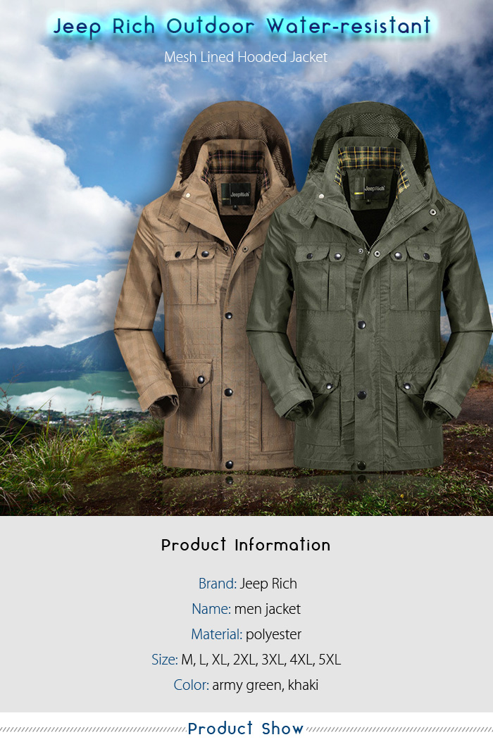 Jeep Rich Outdoor Windproof Mesh Lined Hooded Jacket Water-resistant Winter Coat