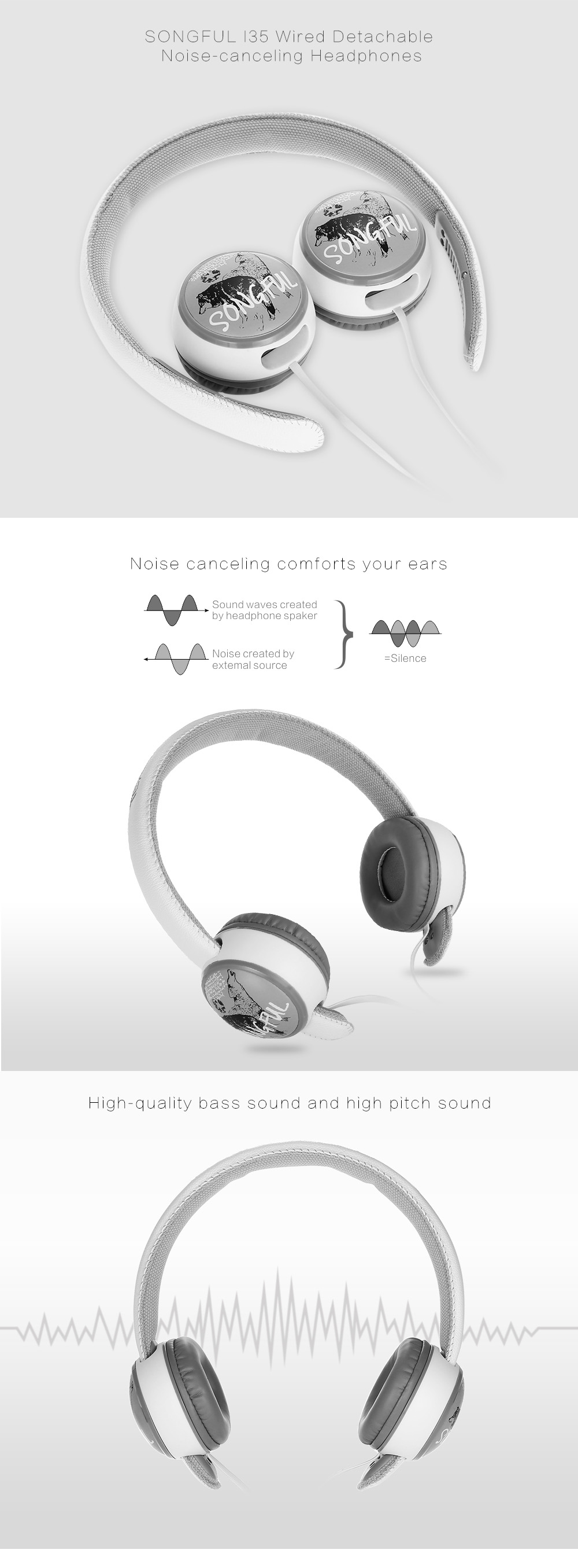 SONGFUL I35 Wired Detachable Noise-canceling Headphones Built-in Mic with Song Switch Function