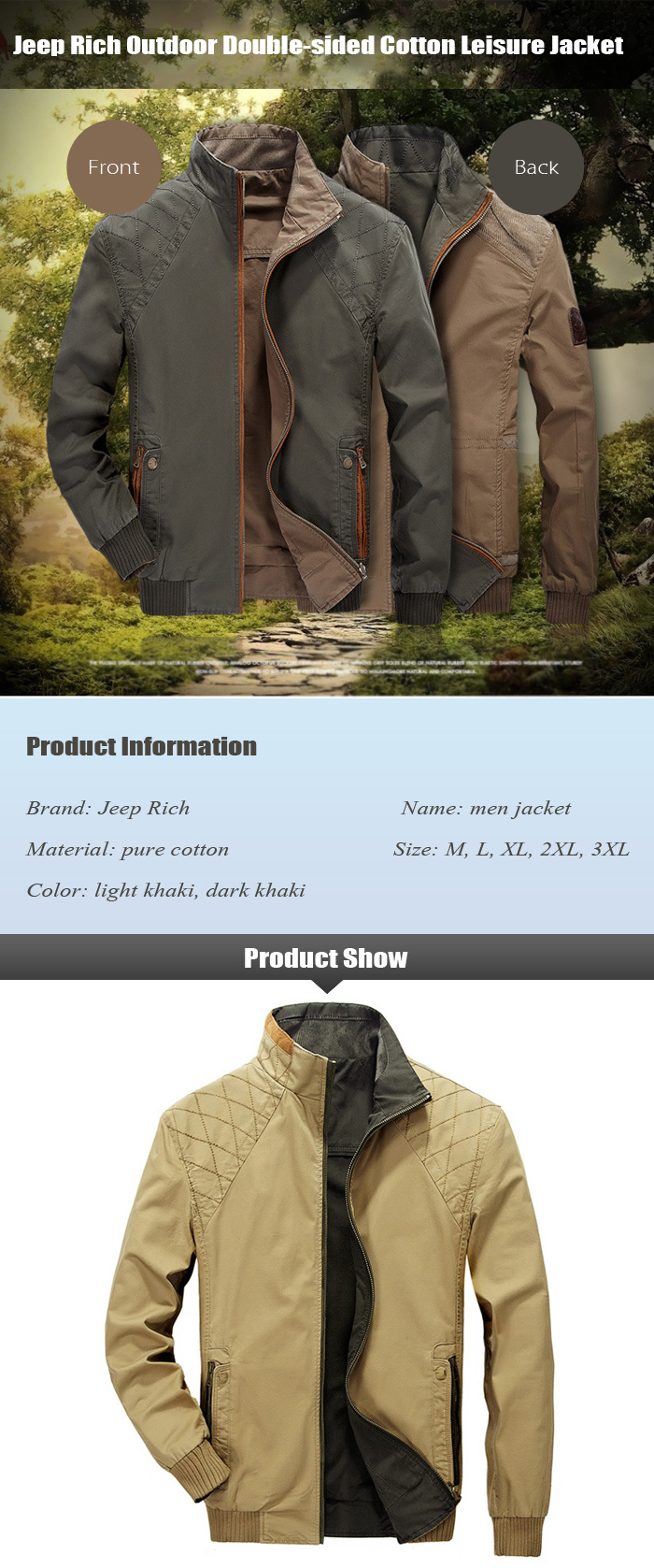 Jeep Rich Double-sided Cotton Leisure Jacket Outdoor Autumn Winter Coat