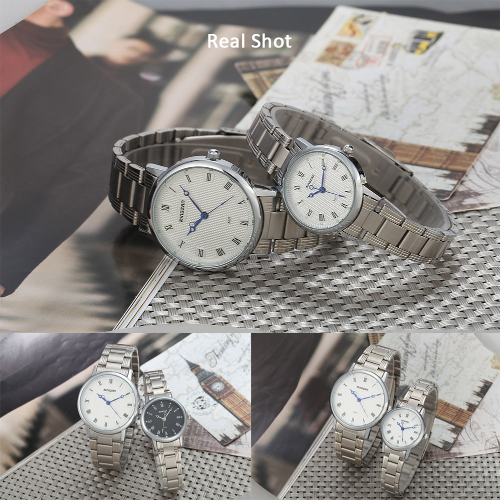 mingzan A027 Fashion Couple Watches Grid Pattern Dial Wristwatches