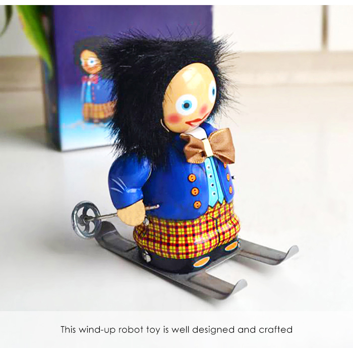 Clockwork Spring Walking Ski Robot Retro Mechanical Toy Christmas Gift