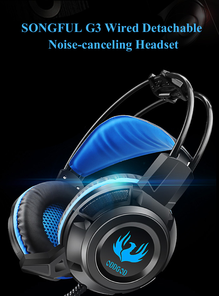 SONGFUL G3 Wired Noise-canceling Headset Built-in Mic with Colorful Breath Light